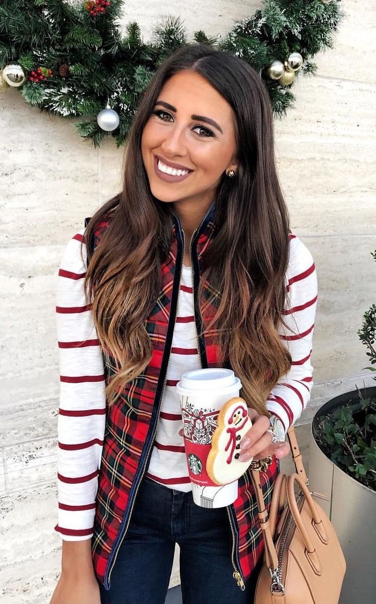 #winter #outfits white and red striped long sleeve shirt and red jacket