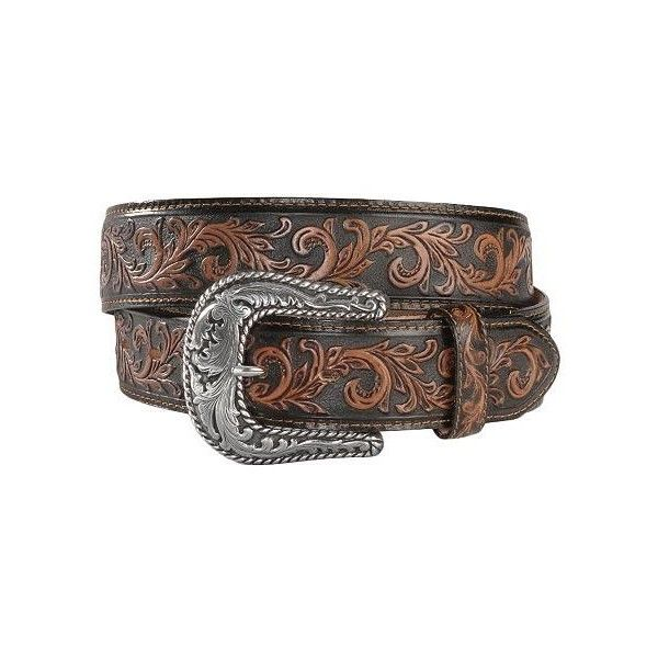 Tony Lama Scottsdale Classic Tooled Western Belt ($40) ❤ liked on Polyvore featuring accessories, belts, cowboy buckle belts, buckle belt, real leather belts, leather buckle belt and cowgirl belts