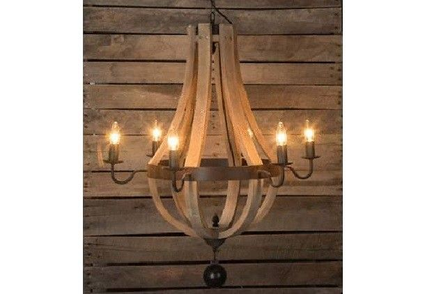 Wine Barrel 6-Arm Chandelier - From Antiquefarmhouse.com - http://www.antiquefarmhouse.com/current-sale-events/industrial3/wine-barrel-6-arm-chandelier.html