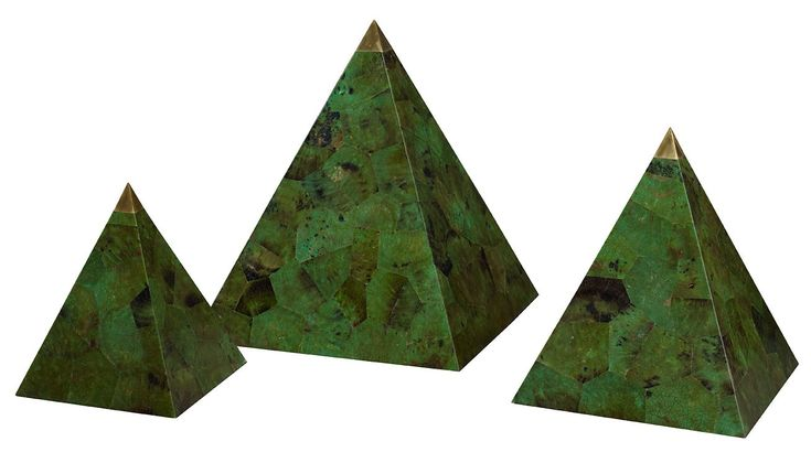 Buy Tesselated Green Penshell Pyramids by Kemble Interiors, Inc. - Made-to-Order designer Accessories from Dering Hall's collection of Industrial Tabletop.