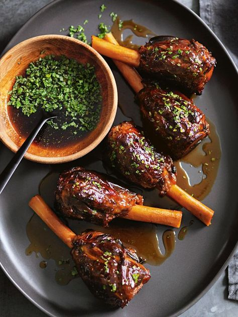Orange And Maple Braised Lamb Shanks With Mint Sauce | Donna Hay