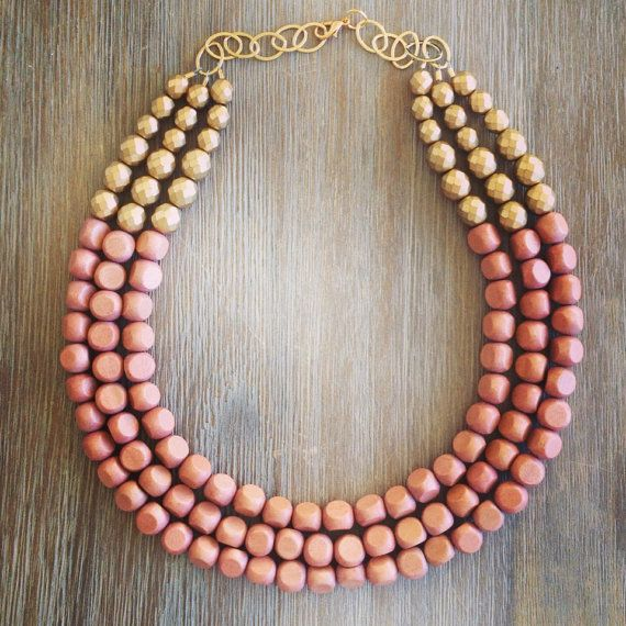 Rose Gold Statement Necklace by icravejewels on Etsy