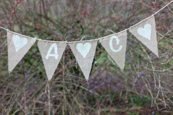 Initials With Hearts Custom Bunting  Vintage by MadeByMeAndMum
