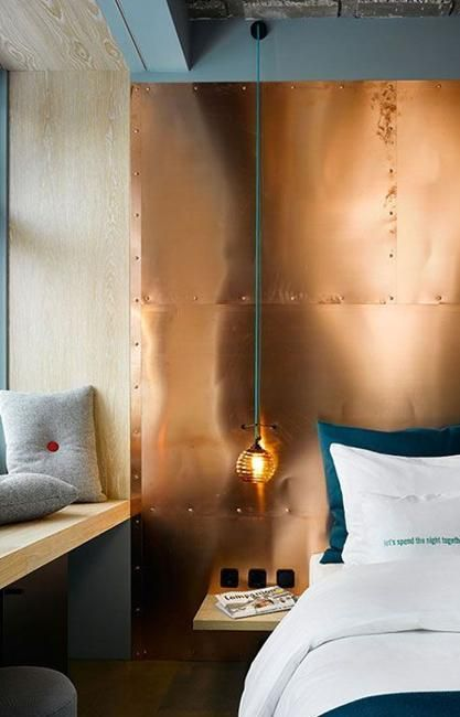 Copper lighting fixtures, home decorations and paint colors blend orange and pink color hues and can be easily matched with existing interior design and decorating. Warm and soft copper works well with neutral colors and all warm and cold room colors.