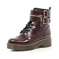 Dark red patent chunky biker lace up boot. £30-