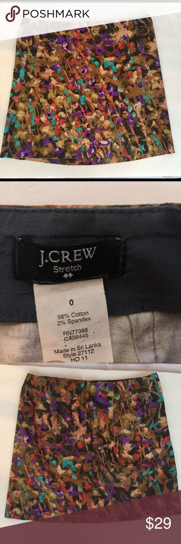 """J.CREW Brush Stroke Stretch Pencil Skirt - 0 This J. CREW Multi Color Brush Stroke Stretch Pencil Skirt with Back Zipper  is previously owned in Very Good Condition.  Not Lined.  FEATURES: SIZE - 0 2 Front Pockets - Back Zipper measures @ 6""""  Waist: 14"""" from Side Seam to Side Seam  Full Length: 16"""" down Side Seam J. Crew Skirts Pencil"""