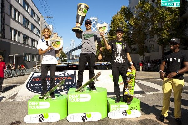 Skate Streetstyle podium: Ryan Sheckler places first, followed by Curren Caples and David Gravette. Photo: Ortiz