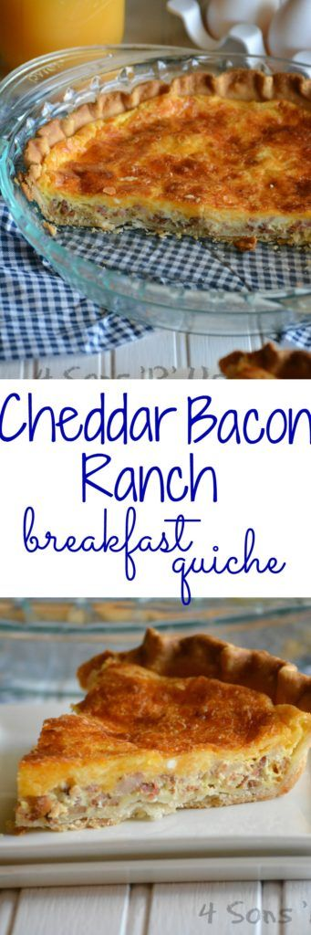 Whether your planning your breakfast, brunch, or dinner menus– this Cheddar Bacon Ranch Quiche will the unrivaled star of your spread. A flaky, buttery pie crust holds the perfect blend of soft fluffy eggs, sharp cheddar, crisp crumbled bacon, and rich ranch dressing. Each serving is a little slice of Heaven. It's a perfect go to recipe for entertaining a crowd.