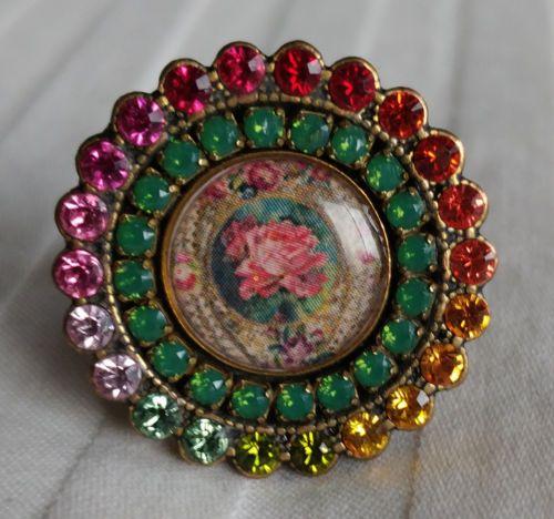Michal-Negrin-Green-amp-Pink-Multi-Roses-Swarovski-Crystal-Ring-NEW-Adjustable