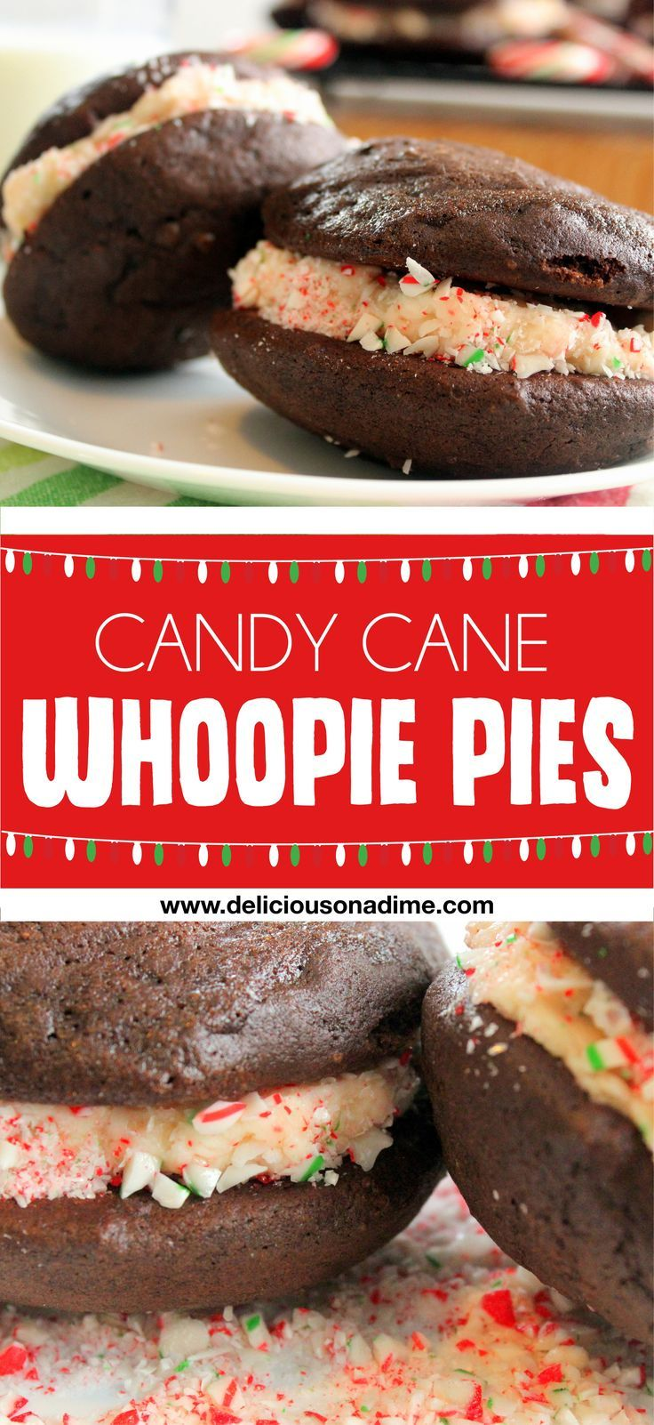 Candy Cane Whoopie Pies - These Candy Cane Whoopie Pies are soft and fluffy, with candy cane icing that's a little minty and a little sweet, perfect for a tasty winter treat!