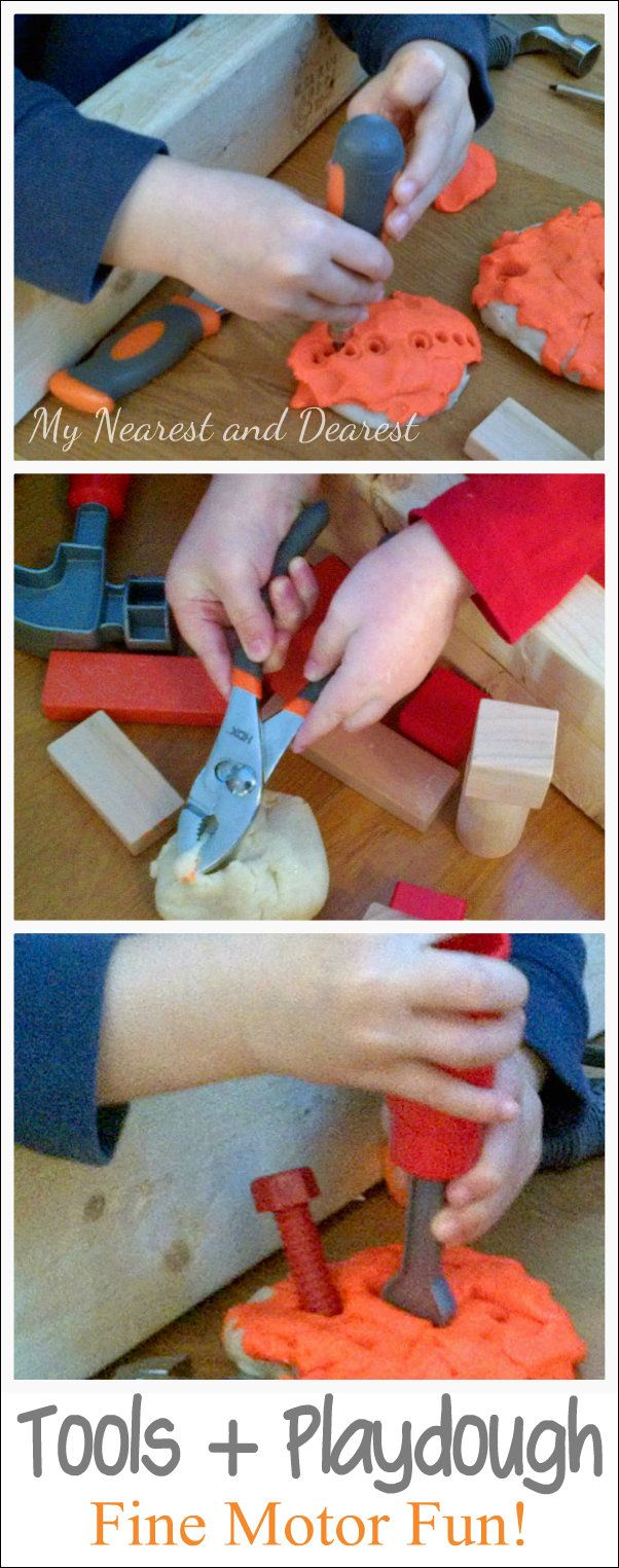 Playful fine motor work with tools and playdough