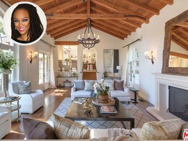 At 5,740 square feet, Tyra Banks' plush pad features 4 bedrooms and 7 baths, as well as a formal dining room, library, sunroom, gym and safe roof.