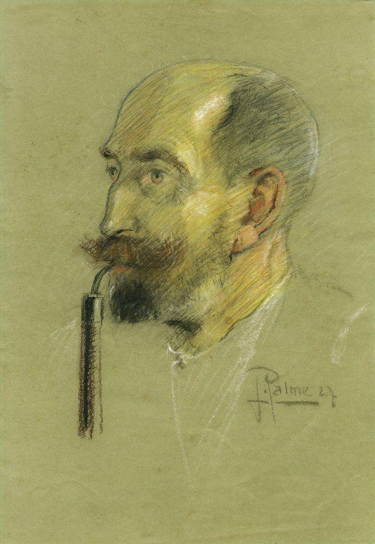 J. Palme: Portrét muže s dýmkou (Portrait of man with pipe), 1927