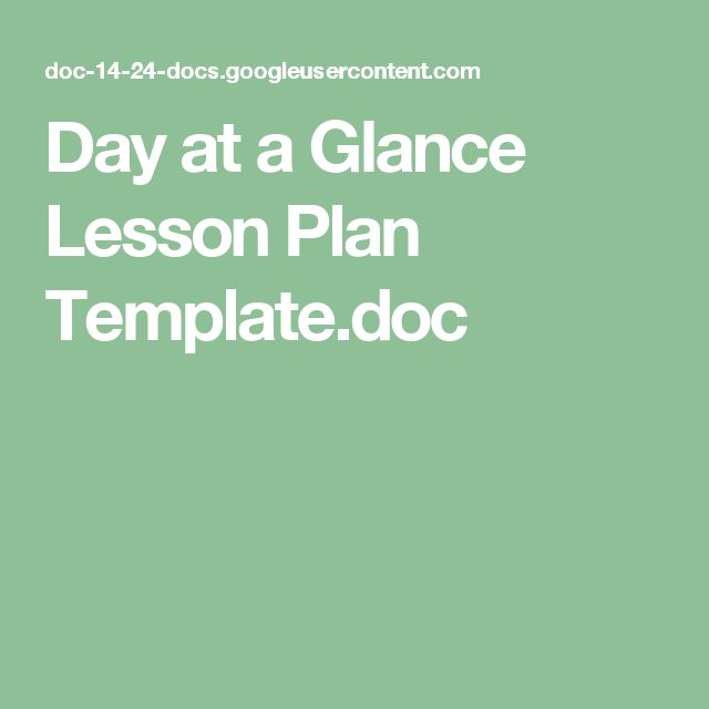 Day at a Glance Lesson Plan Template.doc