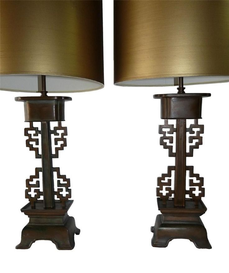 Pair Large Bronze Chinese Lamps Hollywood Regency Vintag Chinoiserie Mid Century | eBay