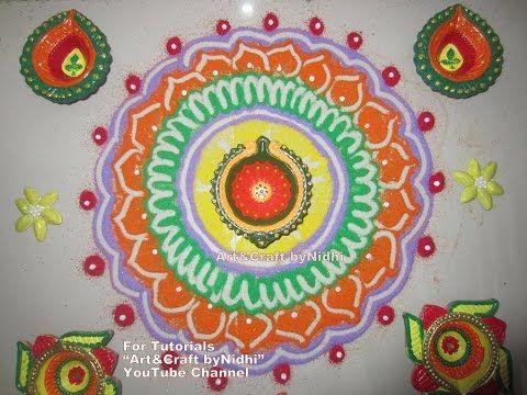 "YouTube rangoli tips tutorials for beginners. Diwali dipawali festival special rangoli design tutorial art creation. Flower rangoli. Rangoli tips for beginners. Search ""Art&Craft byNidhi"" YouTube Channel for more Creative Tutorials. #art #craft #hobby #artist #rangoli #DIY #creative #flower #kids #school #project #bestfromwaste #innovative #beautiful #drawing #painting #diwali #unique #origami #india #london #paris #canada #bombay #ahmedabad"