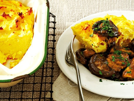 Baked Polenta with Braised Mushrooms (Mushrooms are dairy free if you ...