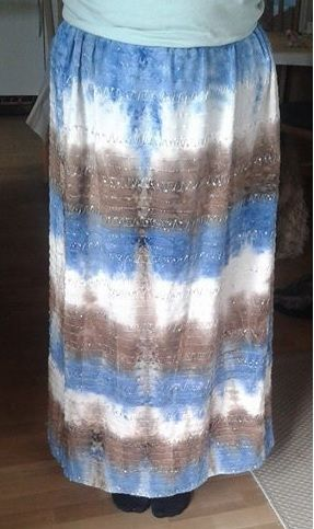 Homemade long skirt. I love the pattern in the fabric.