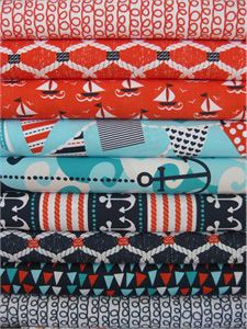 Michael Miller, Ahoy Matey, Entire Collection in FAT QUARTERS, 9 Total--For Vance