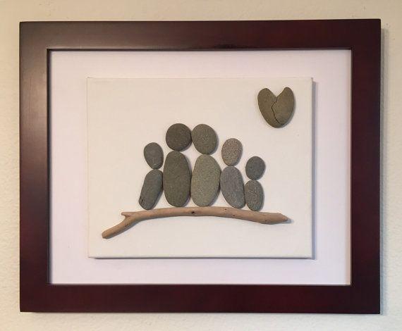 Kiesel Kunst / Familie von fünf / Canvas von EmilysNatureEmporium