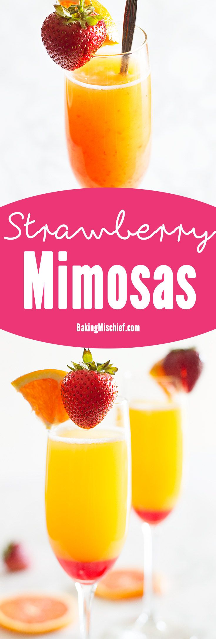"Make brunch even better with a simple but beautiful strawberry upgrade to your classic mimosa recipe. Recipe includes nutritional information and ""mocktail"" instructions. From BakingMischief.com"