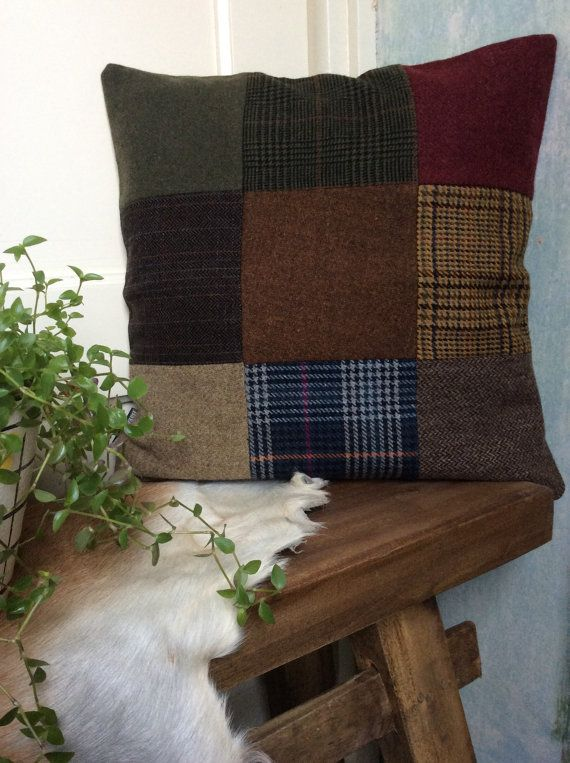 Tweed cushion cover patchwork matching by Bakerstreethandmade