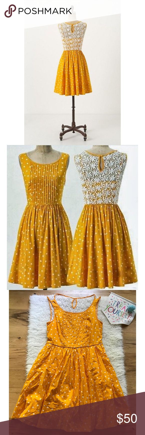 """EUC Moulinette Soeurs Melora Dots Lace Dress Gorgeous dress from Anthropologie in size 10. Lace detail in the back with keyhole closured, hidden side zipper. Lined. No flaws. In a marigold yellowish  orange color. Measure about 36"""" length, 15"""" waist, 16.5"""" pit to pit, 20.5"""" from waist to bottom. ❌No trades ormodeling. Open to reasonable offers. Bundle and save 15%. Thank you‼️ Anthropologie Dresses Mini"""