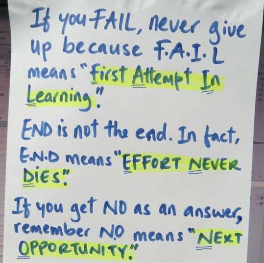 "If you fail, never give up because F.A.I.L means ""First Attempt In Learning"". END is not the end, In fact, E.N.D means ""Effort Never Dies"". If you get NO as an answer, remember N.O means ""Next Opportunity""."