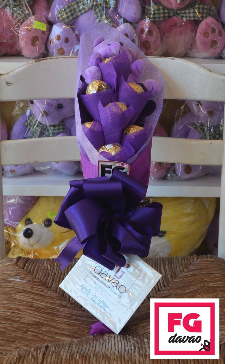 Chocolate bouquet on pinterest candy flowers bouquet of chocolate - 7pc Purple Themed Chocolate Bouquet Flowers Gifts Delivery Www Fgdavao Com 0998 579 5720