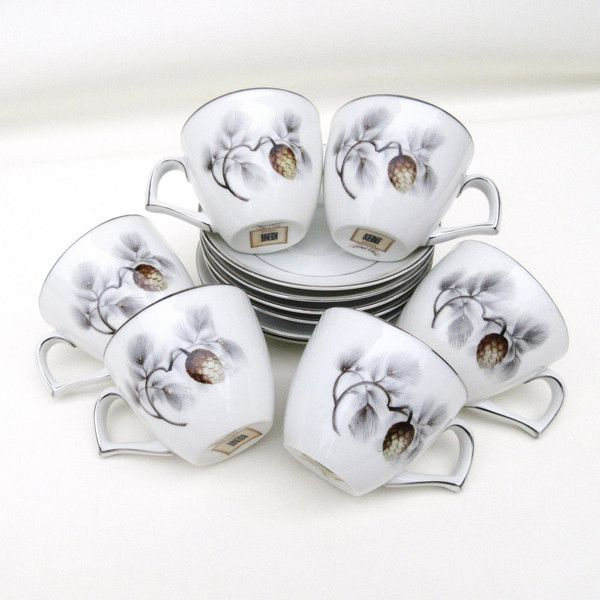 Vintage Espresso Cups Set, Demitasse Cups and Saucers Set, Silver Pine... ($88) ❤ liked on Polyvore featuring home, kitchen & dining, drinkware, tea cup, outdoor drinkware, tea cups and saucers, silver cup and silver tea cups