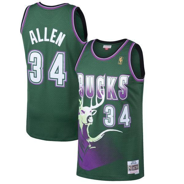 Men's Milwaukee Bucks Ray Allen Mitchell & Ness Kelly Green 1996-97 Hardwood Classics Swingman Jersey