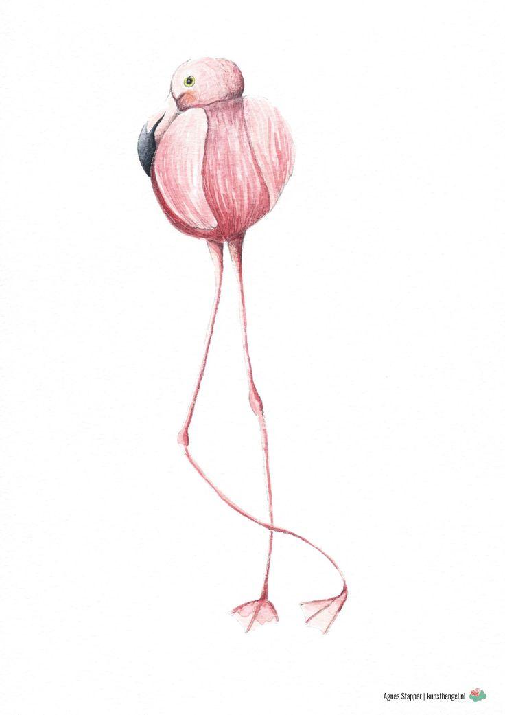 Flamingo illustratie  Agnes Stapper   kunstbengel.nl