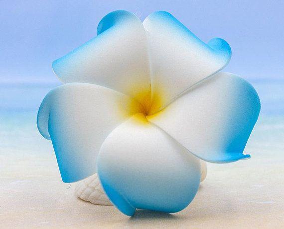 Blue Plumeria Hair Clip 3 Inch Flower Clip Hair Accessory Plumeria Flowers In Hair Flowers