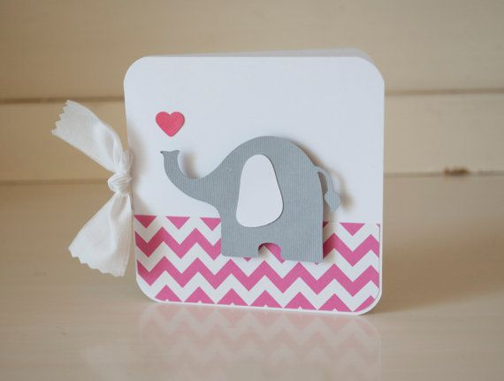 Chevron Invitations Hot Pink Gray Elephant First Birthday Party Baby Shower Thank You Notes Cards Set of 40