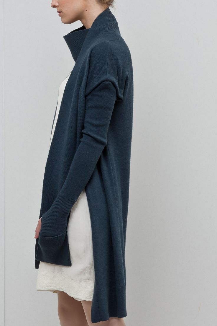 New Form Perspective: long wrap neck cardigan w/ detachable sleeves