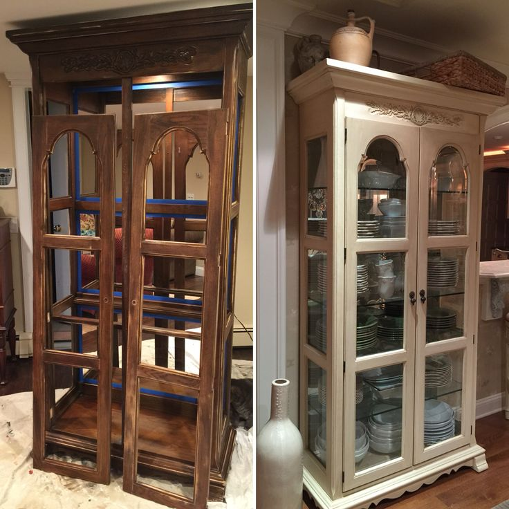 Before and after curio cabinet