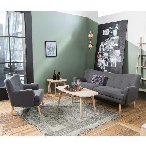 Design Sofa 3 Sitzer SAIDA Stoffbezug Holzbeine Natur