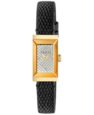 937d70b81fc481 Gucci Women s Swiss G-Frame Black Lizard Leather Strap Watch 14x25mm - Black