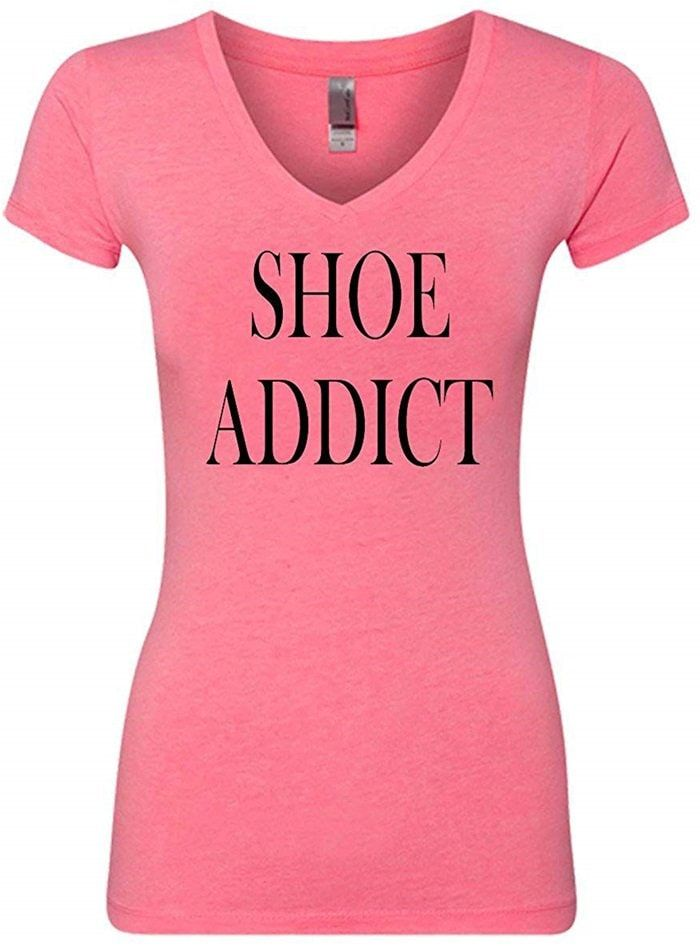 Shoe Addict Funny V-Neck T-Shirt – Shoe Accessories & Gifts for Shoe Lovers