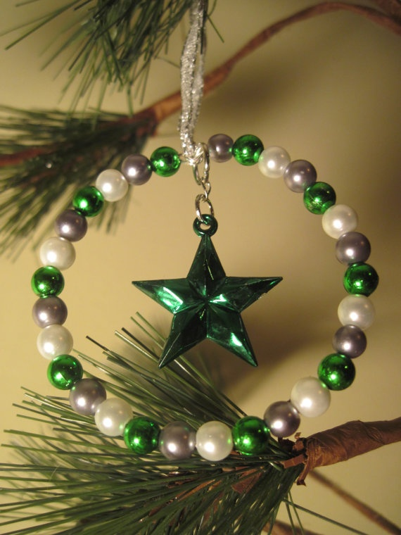 Green, SIlver, and White Glass Pearl Bead Tree Rings / Christmas Ornaments with Star Charm via Etsy