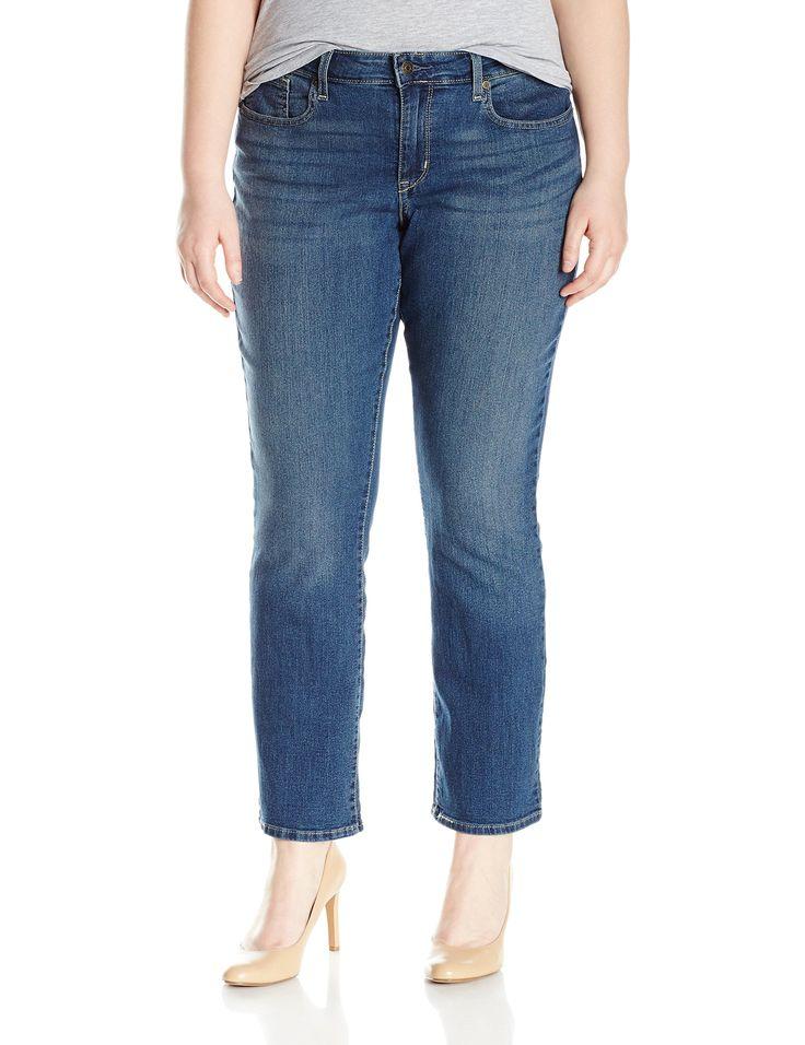 Signature by Levi Strauss & Co Women's Plus-Size Modern Straight Jeans, Grey Stone, 20 Medium