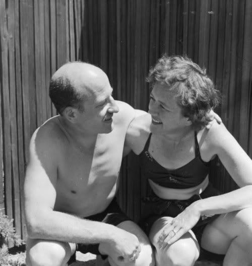 "Julia with her husband Paul Child in California, 1951  ""If we could just have the kitchen and the bedroom, that would be all we need."""