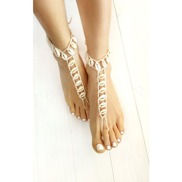 Seashell Jewelry- Beach Wedding Sandals- Boho Barefoot Sandals-... ($30) ❤ liked on Polyvore featuring jewelry
