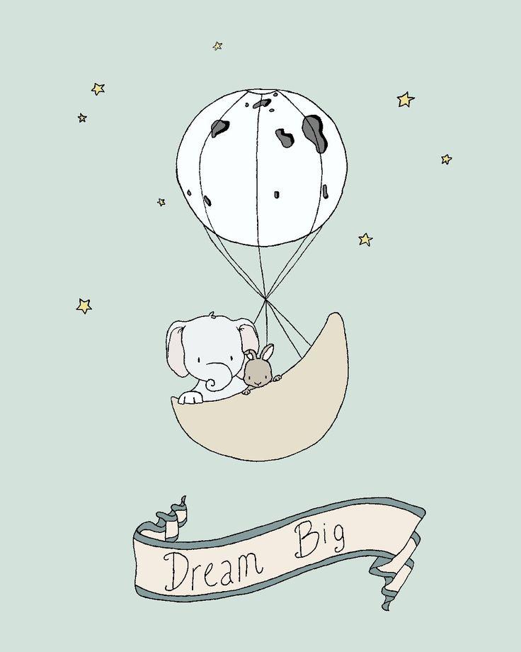 Elephant Nursery Art Print -- Elephant and Bunny Moon Balloon -- Dream Big -- Moon and Stars Nursery Art, Children Art, Kids Wall Art by SweetMelodyDesigns on Etsy https://www.etsy.com/listing/222251676/elephant-nursery-art-print-elephant-and