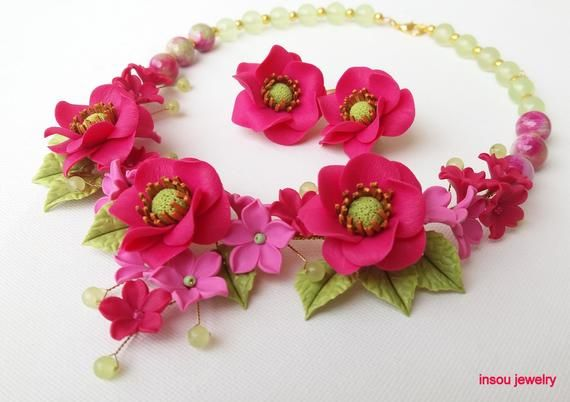 Hot Pink Jewelry Fuchsia Jewelry Pink Flower Necklace Pink Hot Pink Jewelry Pink Jewelry Pink Statement Necklace