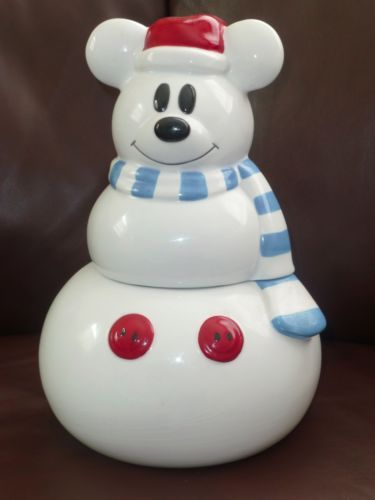 Limited edition disney mickey mouse snowman cookie jar no