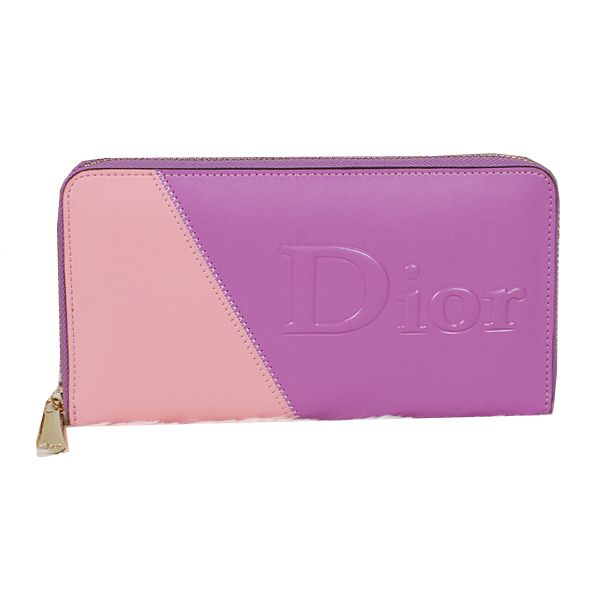 Wholesale Purses Dior Zippy Wallet in Calfskin Leather DO118 Pink&Purple