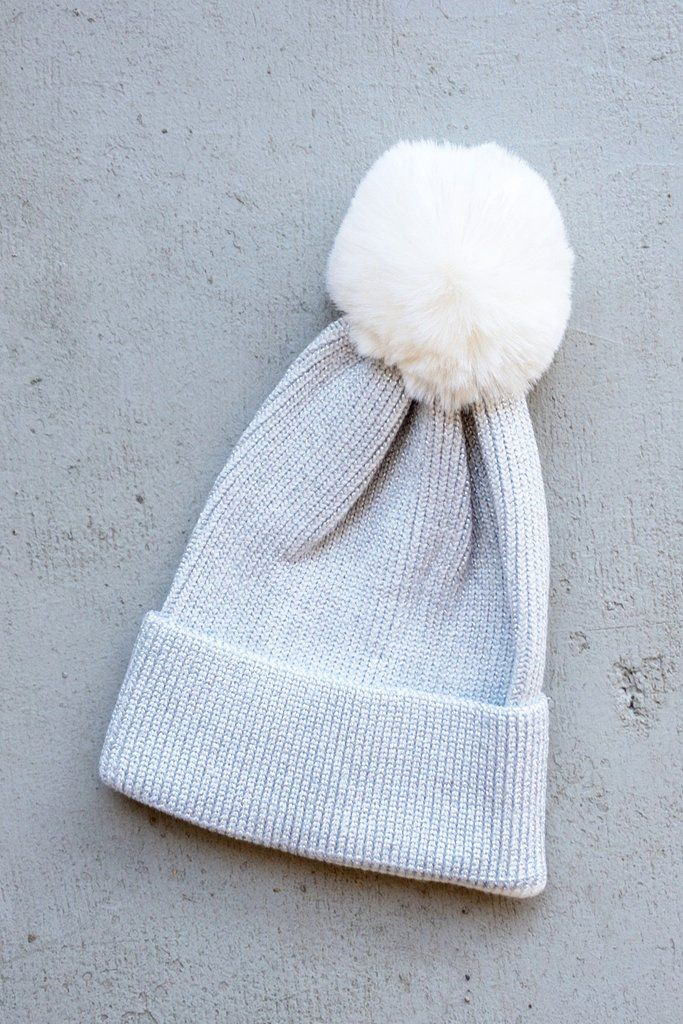 64fa614c0ba Ivory sparkle silver Pom beanie for winter