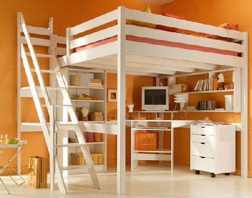Mezzanine pour adulte ou enfant en bois massif, plusieurs couleurs disponibles