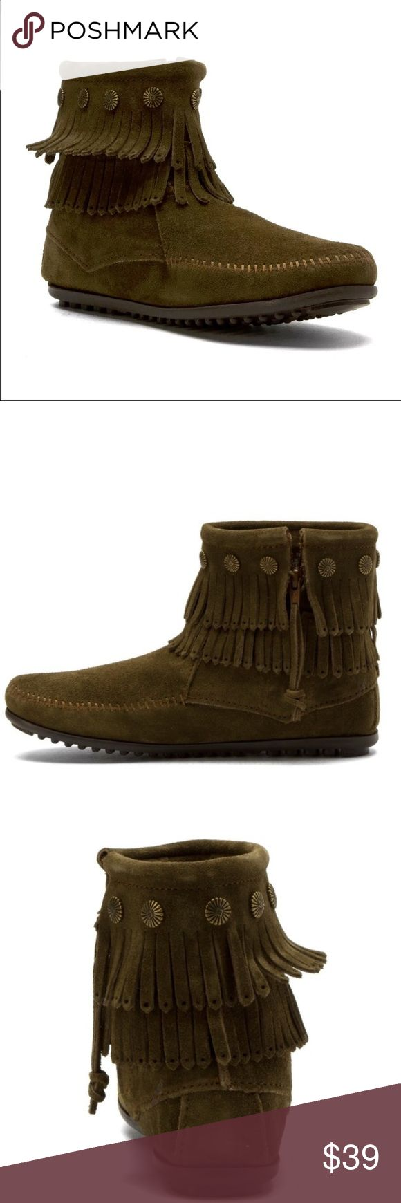 Minnetonka Double Fringe Ankle Boot Loden/olive green Minnetonka double fringe ankle boots. So so cute and comfy. Never worn. New with the box. OPEN TO OFFERS ❤ fits like a 5-6 Minnetonka Shoes Ankle Boots & Booties